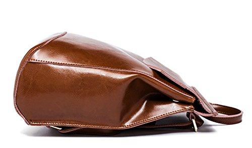 Caige Mädchen arbeiten echtes Leder-Schulter-Beutel-Rucksack College-Leger Daypack Schultertasche Damen Messenger Bag Reisetasche Rucksack Schultasche für Teenager-Mädchen in schwarz (echtes Leder-Rin Braun