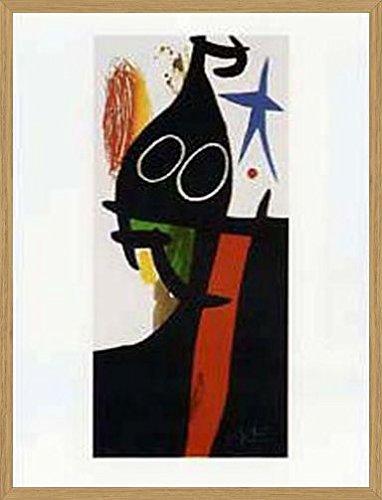 Joan Miró Poster Kunstdruck und MDF-Rahmen Holzoptik Eiche - Der Sarazene Mit Dem Blauen Stern (80 x 60cm)