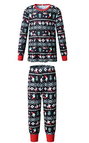 ECOWISH Weihnachten Schlafanzug Familien Outfit Mutter Vater Kind Baby Pajama Langarm Nachtwäsche Print Sleepwear Top Hose Set 161 Kind 10/11T