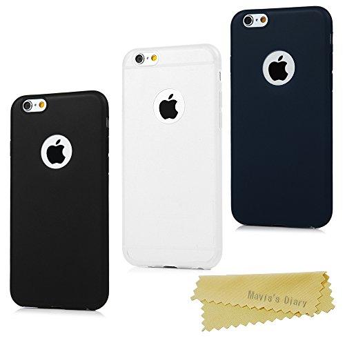 3x Funda iPhone 6 Plus/iPhone 6s Plus 5.5 Pulgada, Carcasa Silicona Gel iPhone 6s Plus Mate Case Ultra Delgado TPU Goma Flexible Cover Protectora - Negra+Traslúcida+Azul