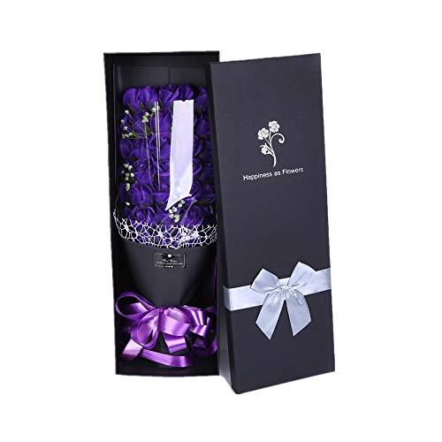 Ramos de Rosas de Jabón Un Ramo Grande de Rosas Flores de jabón Flores para el día de San Valentín Novia Aniversario Cumpleaños Día de la Madre para la Fiesta de Bodas en casa (Color : Púrpura)