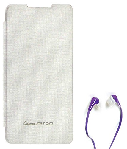 TBZ Flip Cover Case for Micromax Canvas Nitro A311 with Earphone -White