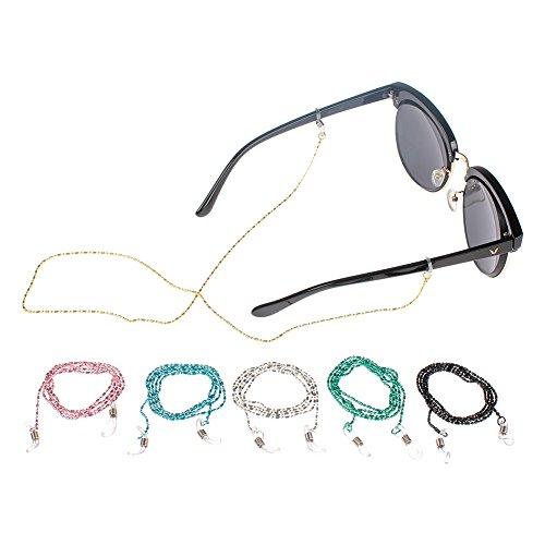 Soleebee 6 Stück Universal Brillen Ketten Perlen Schnur Multicolor Mode Metall Brillenband / Brillenkette / Brillen Cord / Sonnenbrille kette Hals Lanyard / Brillenhalter Hals Cord Strap