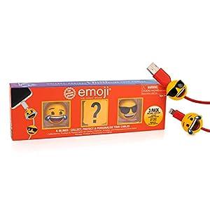 Emoji EM-KB-1023 K-Bling-3 Pack Protector de Cable Coleccionable, Multi