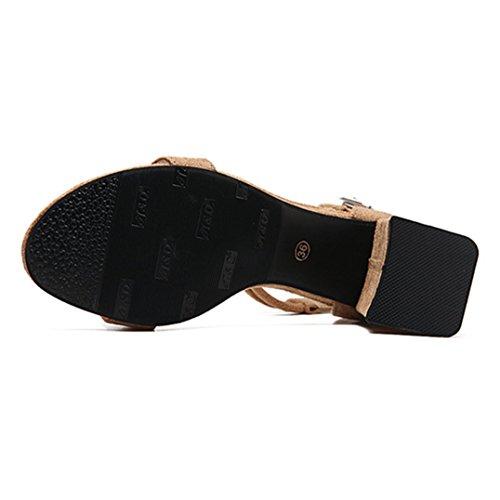 Donna Chic Sandali con Tacc Scarpe da Donna Comode Scarpe col Tacco Accocinturino alla Caviglia Elegante e Raffinato per Spiaggia di Sabbia Festa Nozze Cocktail Partito Beige