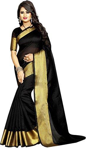 BuyOnn Women's Cotton Silk Solid Saree with Blouse Piece OFS101-Cotton-B1_Black_Free Size