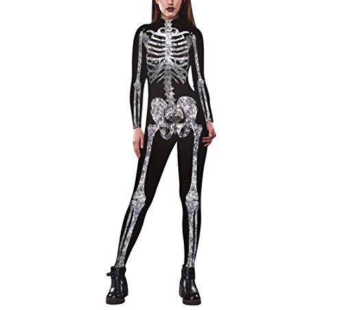 SERAPH Damen Halloween Kostüme 3D Skeleton Print Langarm Overall Cosplay Catsuit,Black,S