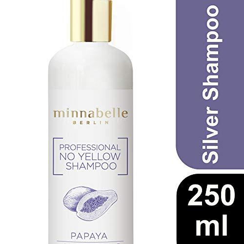 minnabelle Berlin Professional Silver Shampoo, No Yellow Shampoo mit Panthenol und Vitamin E, anti Gelbstich, Abmattierung Blond, Papaya Duft, 250ml