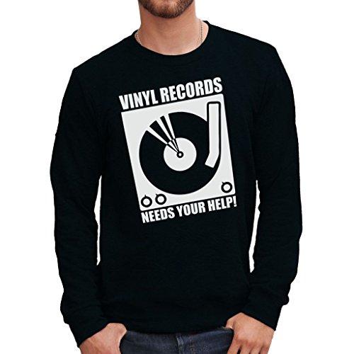 Felpa girocollo VINYL RECORDS - MUSIC by MUSH Dress Your Style - Uomo-L-NERA
