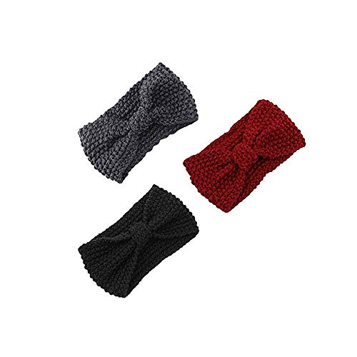 Goosuny Damen 3Pc Haarband Frauen Stricken Haare Stirnband Elastisch Handgefertigt Bow Twisted Design Weiche Gestrickte Stirnbänder Turban Kopf Haarschmuck(C)