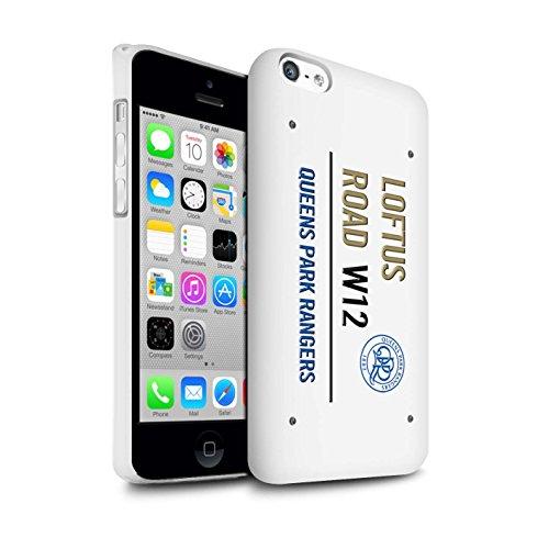 Officiel Queens Park Rangers FC Coque / Clipser Brillant Etui pour Apple iPhone 5C / Pack 8pcs Design / QPR Loftus Road Signe Collection Blanc/Or