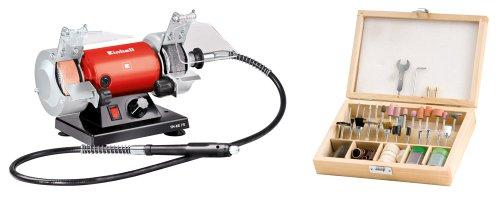 elektrischer schleifstein Einhell Doppelschleifer Set TH-XG 75 Kit (120 W, inkl. Grob- und Polierscheibe, flexible Welle, 100 tlg. Zubehör-Set im Holzkoffer)