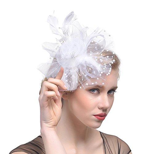 DRESHOW Fascinators Hut Blume Mesh Bänder Federn auf einem Stirnband und einem geteilten Clip Cocktail Tea Party Headwear für Mädchen und Frauen, - Weiß - Gr. Einheitsgröße