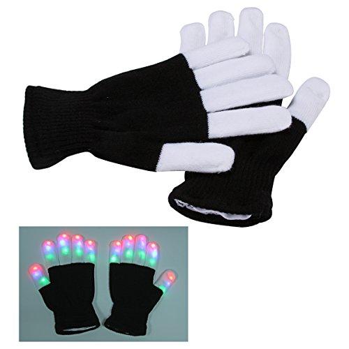 Xcellent Global LED Blinkende Leuchtende Finger Handschuhe Rave Handschuhe 7 Farben Lichtshow für Weihnachten, Party, Tanzen, Bars und Aufführungen SP030