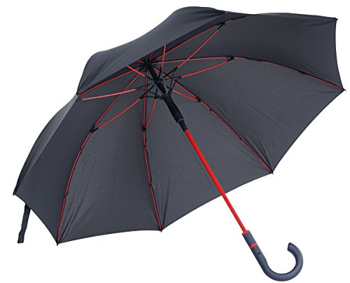 Automatik Regenschirm / Stockschirm für Herren und Damen Fiberglas, Stahlstock, Soft Touch Rundhakengriff, Windsicher (TÜV) 112cm Durchmesser, Farbe: Anthracite / Red