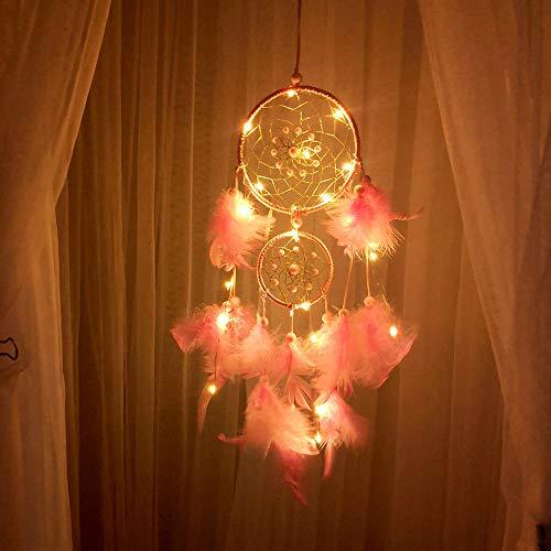 FeiliandaJJ Traumfänger, Dream Catcher Nachtlicht Feder Wand Hängend Home Decor Nacht Lampe für Kinder Baby Schlafzimmer Wohnzimmer Geburtstag Geschenk (D) (Catcher Decor Home Dream)