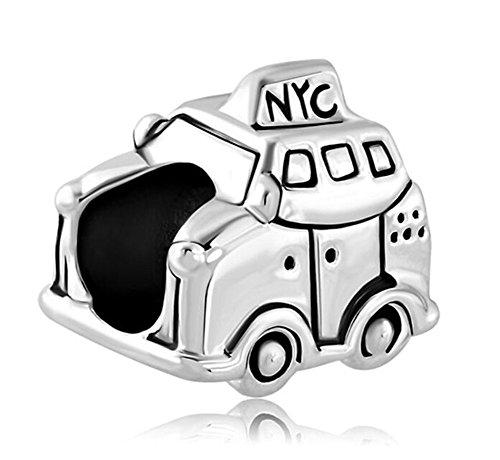 Charme Pandora Auto (Eisen-YD-Schmuck New York City Taxi Auto Europäische Charm-Spacer Bead Abstandhalter Frau Armband)