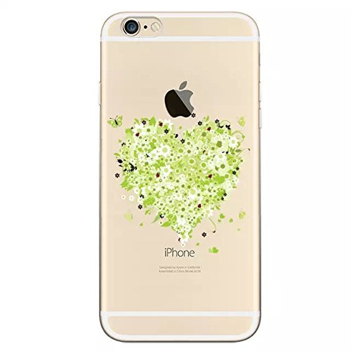 Sunroyal® Apple iPhone 6/6S (4.7 pouces) TPU Silicone Coque Etui Housse Case Cover Creative Romantique Ressort Vert Transparente Clair Skin Shell Hull Replacement Attrayant Ultra-Light Ultra-Thin Prem Fleur 07