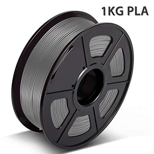 Filamento PLA 1,75mm,3D Warhorse Filamento,+/-0,02mm,2,2LBS(1kg),Bonus con Filamento per Pulizia Ugello PCL 5M,Grigio