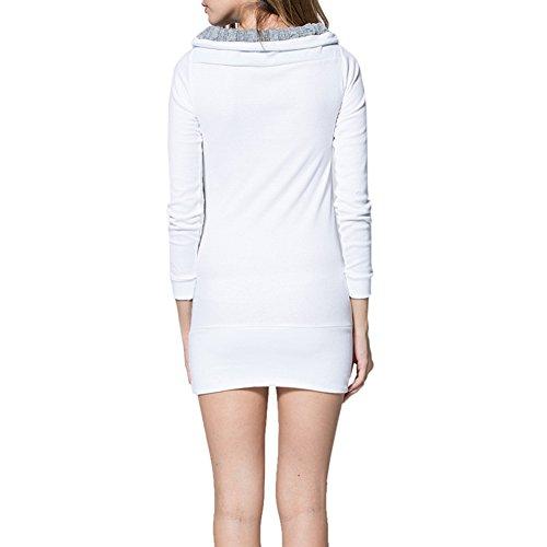 Femmes Tricoté Robe Dames Robe Longue Manche Cavaliers Chandail Couleur Bloc Mini Robe Tricots Décontractée Svelte En Forme Robe Tops hibote Blanc