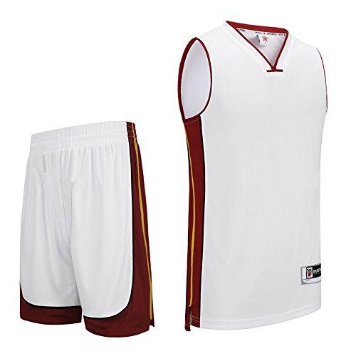 Basketball Trikot Set, Sanheng Herren Basketball Sleeveless Shirts und Shorts Quick Trocknen Sport Running Kleidung Anzug mit EU große Größen, Weiß