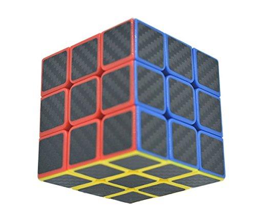La fibra de 3x3x3 Negro cubo de la velocidad del carbón Etiqueta suave mágica Precisamente Cubo Rompecabezas
