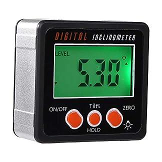 Cikuso Transportador Electrónico Inclinómetro Digital Medidor Calibre de ángulo de Caja de Bisel Digital de Aleación de Aluminio 0-360 Herramienta de Medición de Base de Imanes