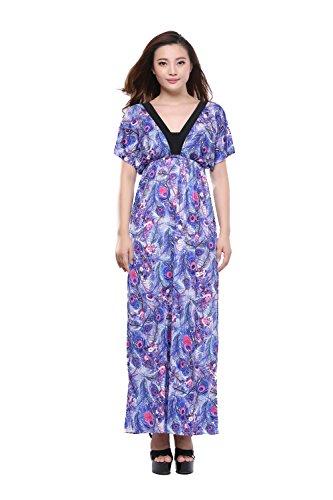 Moollyfox Femme Grande Taille Robe Plume Imprimé Manches Courtes Col V Été Maxi Robe de Soirée, Longue Robe de Plage Violet