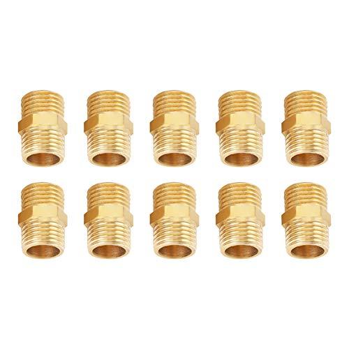Adapter 1/4 Rohr (Akozon Messing Hex Nippel 1/4 BSP zu 1/4 BSP Außengewinde Messing Rohr Hex Nippel Fitting Quick Adapter Set von 10 Stück)