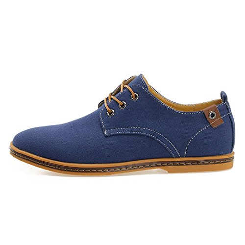 homme Chaussures toile - TOOGOO(R)Chaussures ville homme garcon toile Noir Chaussures de toile Canva Oxfords Shoe FR 39(Taille Fabricant 38) Bleu