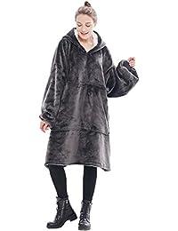Übergroße Hoodie Decke Sweatshirt,Der Original Sherpa Riesenpullover mit großer Tasche,Weiche gemütliche warme Bequeme Neuheit Hoodies,1 Größe passt alle,TV-Decke für Männer Frauen Jugendliche Kinder