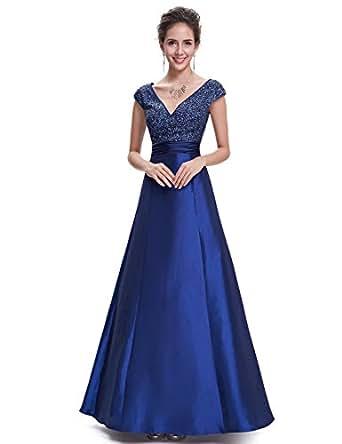 Ever Pretty Women's Sexy V-neck Sleeveless Ruched Waist Long Evening 10UK Navy Blue