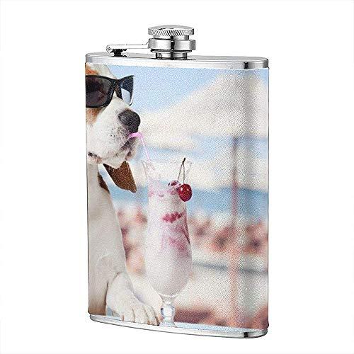 Tier Beagle Schärfentiefe Hund Humor Eis Haustier Flachmann Tasche Flasche Flagon 8 Unzen Portable Edelstahl Flagon Camping -