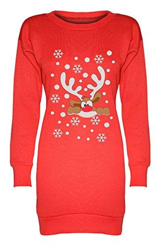 Femmes Dames Longue Ligne Baggy Noël Noël Nouveauté Santa Rudolph Elf Print Jumper Sweatshirt Top Reindeer Nose Red