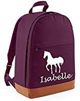 PERSONALISED Plum and Tan Horse Design with name Freshman Backpack (PLEASE GO TO ADD GIFT OPTIONS....ENTER NAME IN FREE GIFT MESSAGE BOX....AND SAVE)