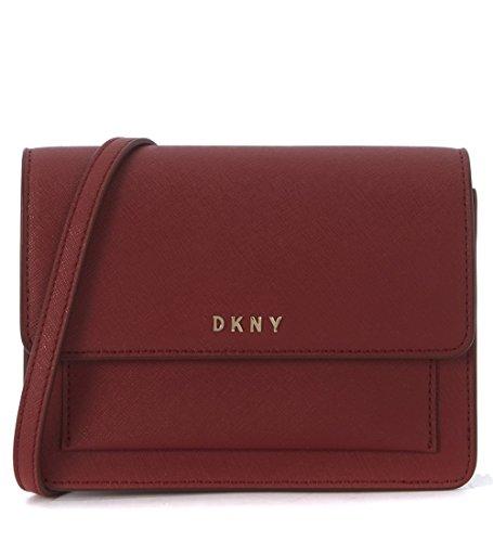 Borsa a tracolla mini DKNY in pelle rosso scarlet