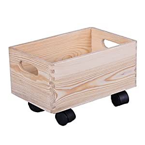 holzkiste auf rollen aufbewahrungsbox holz kinderzimmer holzkasten rollbox box 30x20x14 cm. Black Bedroom Furniture Sets. Home Design Ideas