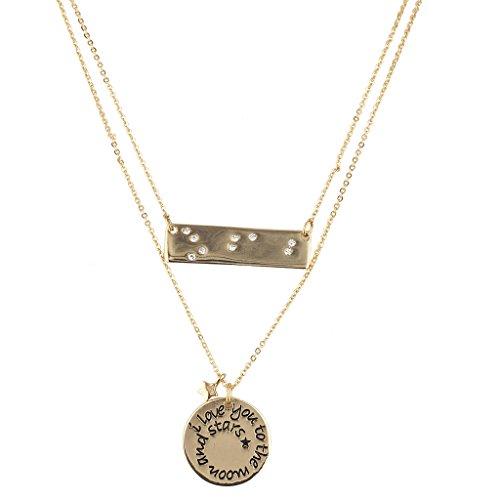 LUX Zubehör Layered I Love You The Moon Stars Inspirierende Anhänger Halskette (Opal Moon Halskette)