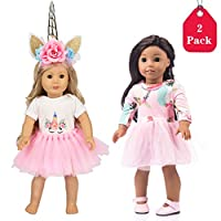 Amycute 18 Inch Our Generation Dolls Clothes Unicorn Print Dresses Outfits & Unicorn Headband for American Girl Doll & Other 18 Inch Girl Toy Dolls, Set of 2 (Blue)