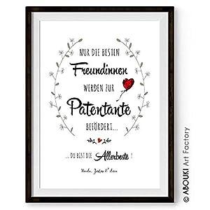 """ABOUKI hochwertiger Kunstdruck – ungerahmt – """"Nur die besten Freundinnen werden zur Patentante befördert."""" personalisierter Druck individuelle Geschenk-Idee für beste Freundinnen, Taufgeschenk"""