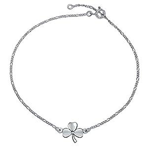3 Das Laub Klee Shamrock Blume Fußkettchen Glücksbringer Fußkettchen Kettenglied Armband Für Damen Silber 9 Bis 10 In