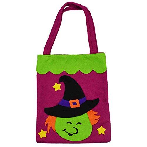 3 Stück Halloween-Tragetaschen - Large 39cm - Wiederverwendbare Lebensmittelgeschäft-Süßigkeit-Kürbis-Taschen-Taschen für Partei-Bevorzugungs-Dekoration (Hexe) - 2