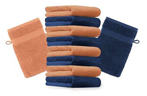 Betz Lot de 10 gants de toilette taille 16x21 cm 100% coton Premium couleur bleu foncé, orange