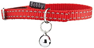 "Bobby ""safe"" Red Reflective Cat Collar by BOBFR"
