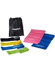Relaxdays Fitnessbänder Set, 6 Gymnastikbänder, Latex, 4 Zugstärken (Leicht Mittel Schwer, Extra Schwer), Loopband