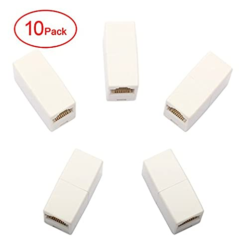 Postta RJ45 Coupler Inline CAT5E Coupler Ethernet Cable Connector Female to Female(10 Pack)