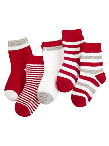5 Paar Baby Kleinkind Jungen Mädchen Baumwolle Socken Set Babysocken Weich Süß und Lieblich - Gestreift Bordeaux 1-3 Jahre alt (Baumwolle Rot Camis Elasthan)