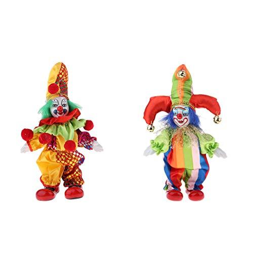 Zoll Halloween Clown Porzellan Puppe In Bunten Kostüm Handwerk ()