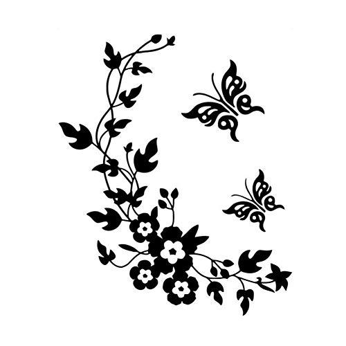 ing Blume Reben Etiketten-Wand-Aufkleber, entfernbare Aufkleber Schmetterlings-Blumen-Rebe-Wand-Aufkleber im Schlafzimmer Wohnzimmer Lounges Wohnkultur Badezimmer ()