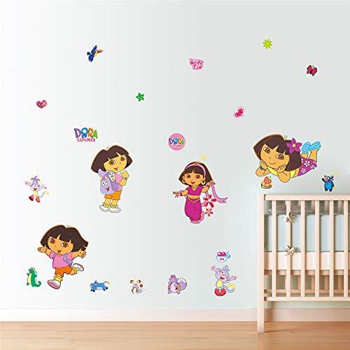 Dora Schwarze Stiefel Kind (Cartoon Dora Stiefel Affe Wandaufkleber Für Kinderzimmer Garten Blume Aufkleber Wandbild Poster Kinderzimmer Dekor Kinder Geschenk)